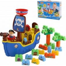 """Игровой набор """"Пиратский корабль"""" + конструктор (30 элементов) (в коробке) Полесье 62246"""