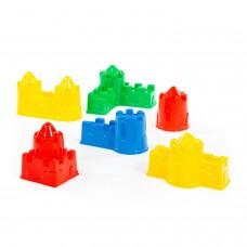Набор №543: формочки (замок мост + замок башня + замок стена с одной башней + замок стена с двумя башнями + замок угловой + замок квадратный) Полесье 54302