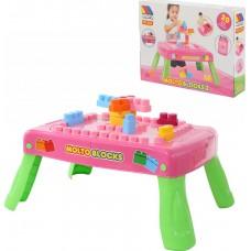 Игровой набор с конструктором (20 элементов) в коробке (розовый) с элементом вращения Полесье 58010