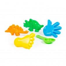 Набор №371: совок №7, формочки (динозавр №1 + динозавр №2 + ладошка + ножка) (в пакете) Полесье 35684