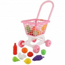 """Тележка """"Супермаркет"""" №1 (розовая) + набор продуктов (в сеточке) Полесье 68477"""