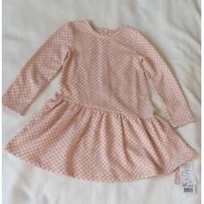 Платье для девочки серое в розовый горох М8236